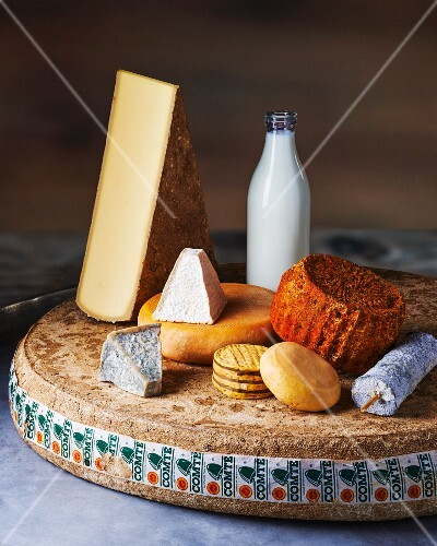 Various types of cheese with milk and crackers