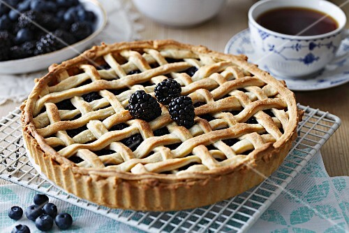 Blackberry and blueberry tart