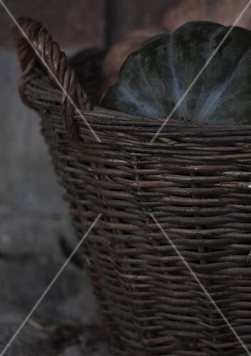 Pumpkins in a wicker basket