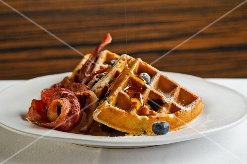 Belgian waffles with blueberries and bacon
