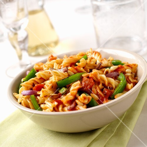 Fusilli with chargrilled vegetables, roasted tomatoes and toasted pine nuts