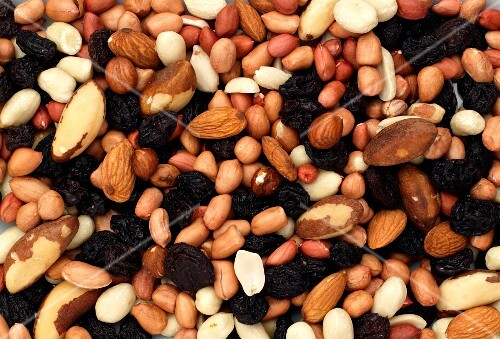 mixed nuts and raisins from above