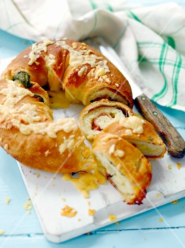 A bread ring with ham, herbs and Parmesan