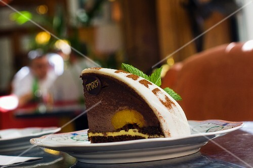 a chocolate cake with marcipan and orange