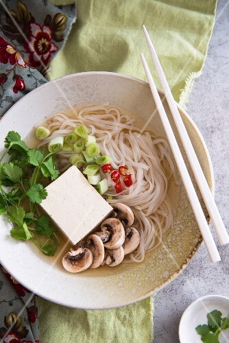 Noodle soup with tofu, mushrooms and coriander (Asia)
