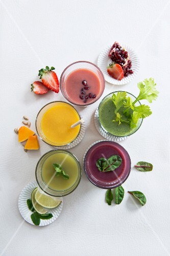 Various sweet and spicy smoothies (seen from above)