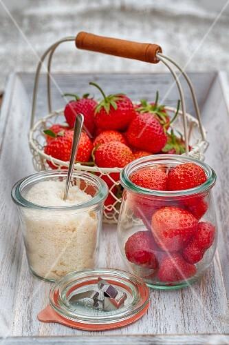Erdbeeren und Zucker