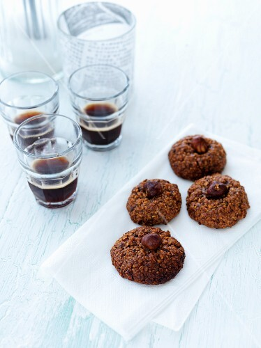 Chocolate and nut cookies with coffee