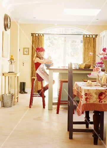 Pleasing Young Girl Cooking In Country House License Images Creativecarmelina Interior Chair Design Creativecarmelinacom