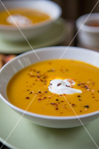 Pumpkin soup with chilli and sour cream