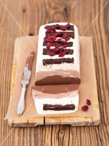 A chocolate terrine with mascarpone, cream and three types of chocolate