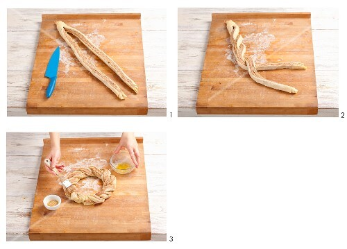 A bread wreath with a cinnamon and almond filling being made (Part 2)