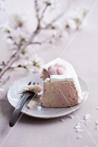 Cherry blossom sponge cake with cream