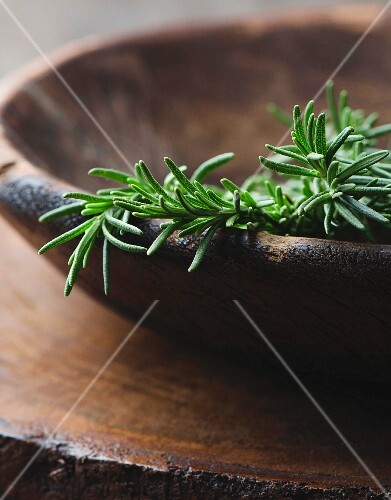 Fresh rosemary in a wooden bowl