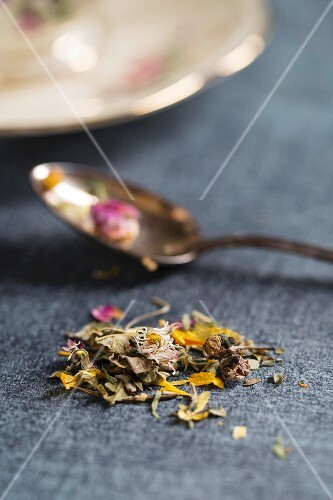 Herb tea with various flowers