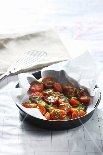 Baked tomatoes being made