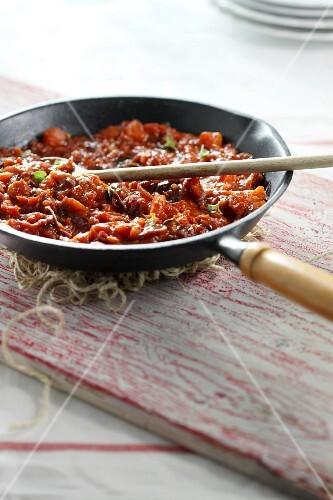 A pan of tomato sauce