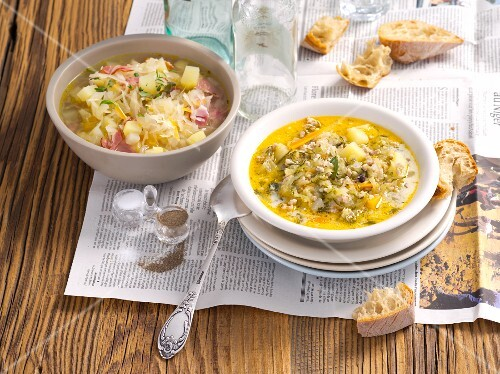 To sour soup is: cucumber soup with minced meat and sauerkraut soup with potatoes and pancetta