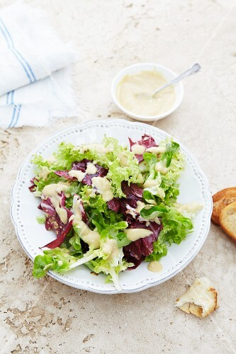 Mixed leaf salad with mayonnaise dressing