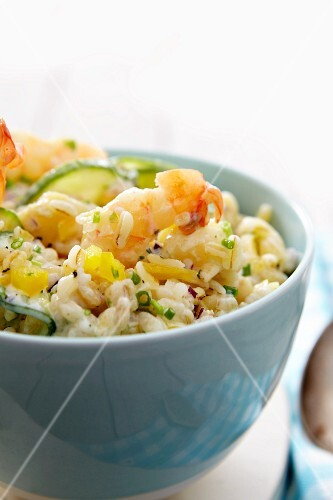 Risotto with prawns and cucumber