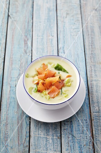Potato and coconut soup with smoked salmon