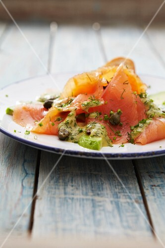 Salmon carpaccio with mustard sauce, capers and dill