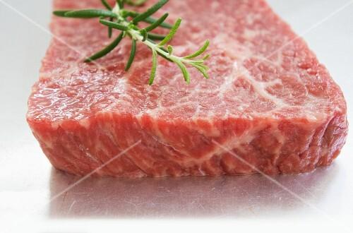 Kobe beef steak with fresh rosemary