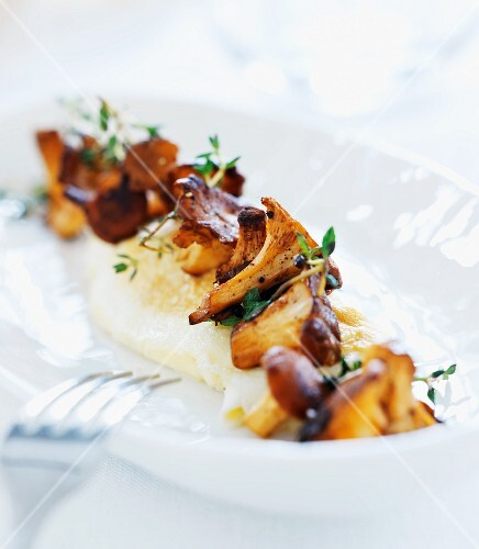 Mashed potatoes with chanterelles