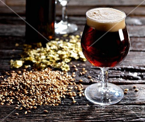 Ale in tulip glass with ingredients