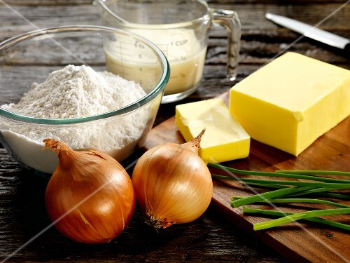 Ingredients for chive and onion pastries