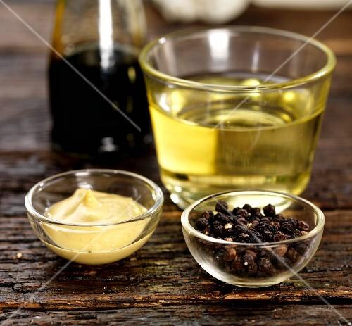 Dijon mustard, peppercorns, white wine vinegar and balsamic vinegar