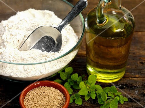 Ingredients for foccacia with oregano