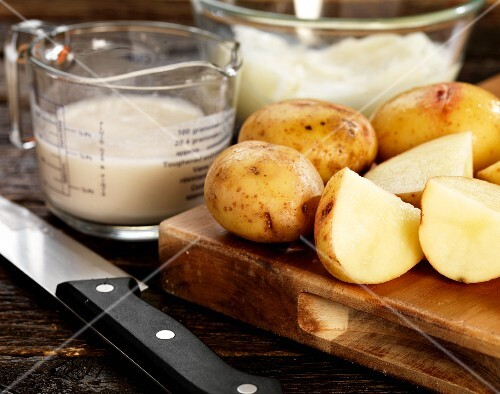 Potatoes and batter ingredients