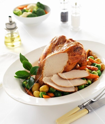 Roast turkey with a side of vegetables