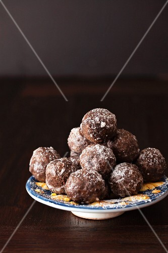 A stack of chocolate fritters