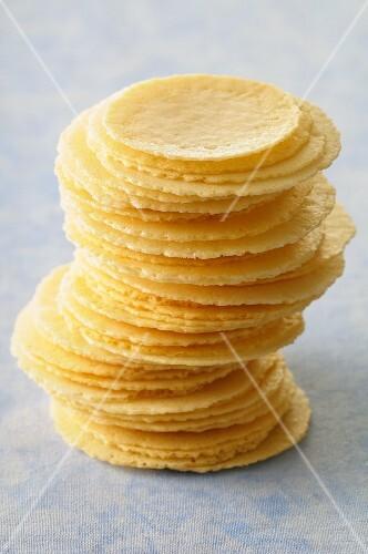 A stack of parmesan crisps