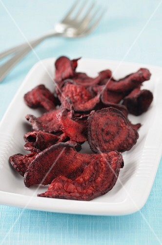 A bowl of beetroot chips