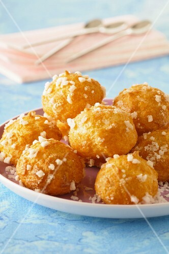 Chouquettes with sugar crystals