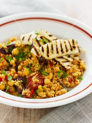 Couscous with chickpeas, chorizo and grilled haloumi