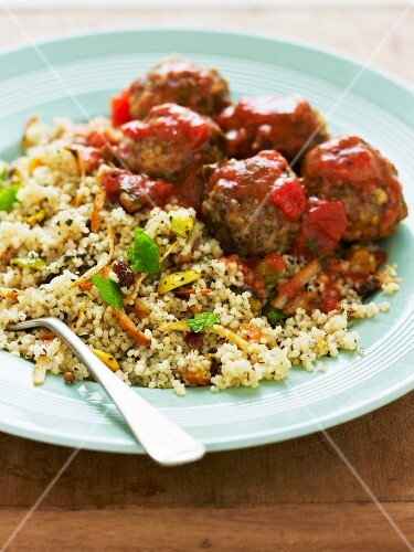 Meatballs in tomato sauce with pilau rice
