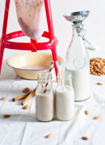 Homemade almond milk flavoured with cinnamon and cocoa