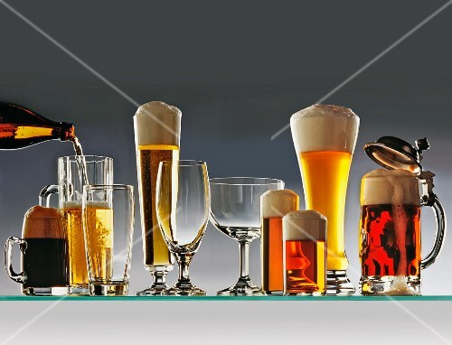 Various types of beer in various types of glasses