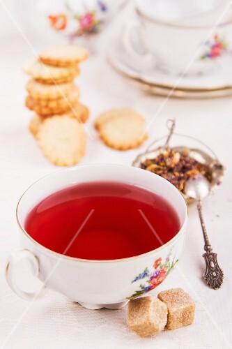 Floral tea with biscuits