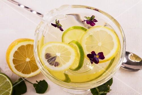 Lemon jelly with violets