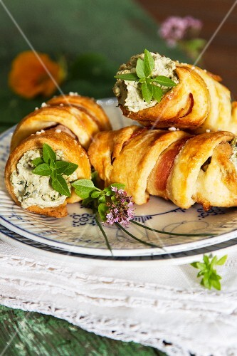 Pastries filled with herb cream cheese