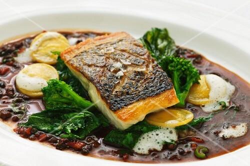 Sea bass in olive gravy