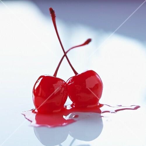 Two maraschino cherries