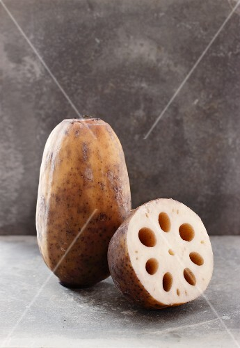 Lotus roots, whole and halved