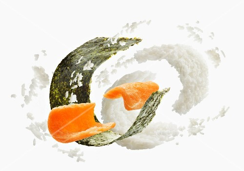 Ingredients for maki sushi with salmon