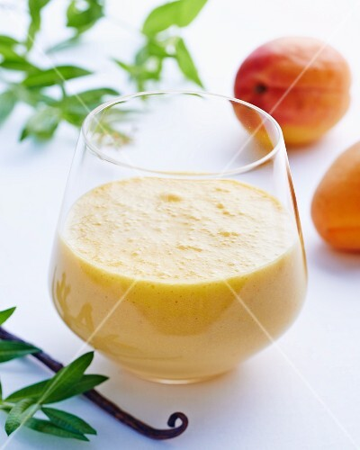 An apricot lassi made with soy milk